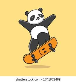 Cute Panda Skateboard  Vector Icon Illustration. Animal Icon Concept Isolated Premium Vector