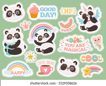 Cute panda stickers. Happy pandas patches, cool animals and winked panda sticker. Bear emotion doodle characters, kawaii comic emoji logo. Isolated vector illustration icons set