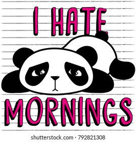 cute panda, sweet character for your design, I hate mornings