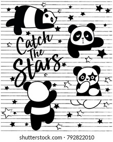 cute panda, sweet character for your design, catch the stars