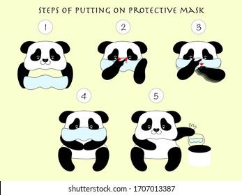 Cute panda teaches the steps with a mask.