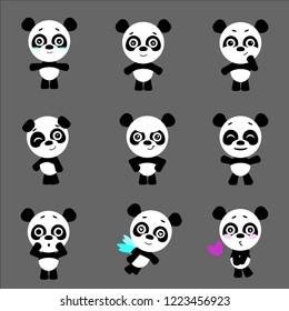 Cute pandas. Panda in kawaii style. Vector set