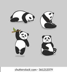 Cute pandas. Vector set