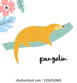 Cute pangolin on the branch. Rare species of animals. Character on white background
