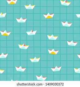 Cute paper boats on turquoise water pool background seamless vector pattern. Colorful summer design with squared background for fabric and stationary.