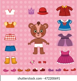 Cute paper doll bear with her cloth set. (Vector illustration)