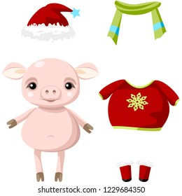 Cute paper doll with winter outfits. Little pig. Vector.