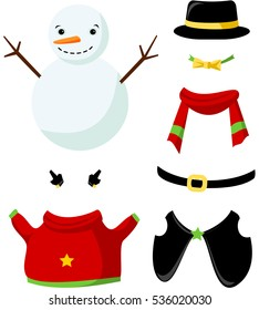 Cute paper doll with winter outfits. Smiling snowman in black hat. Vector.