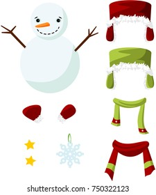 Cute paper doll with winter outfits. Smiling snowman. Vector.