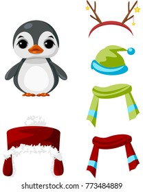 Cute paper doll with winter outfits. Nice penguin. Vector.