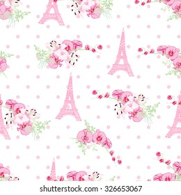 Фотообои Cute Paris inspired print. Seamless vector pattern with pink and white tones.