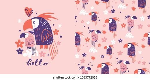 Cute Parrots .seamless pattern
