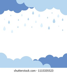 Cute pastel blue cloudy and rain falling background. Vector illustration.