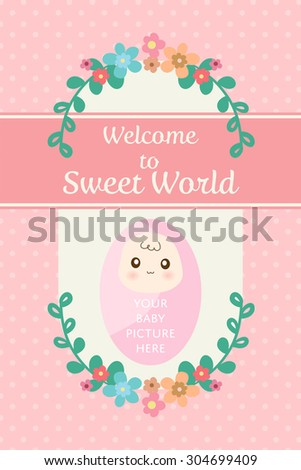 cute pastel card for new born baby or infant congratulation or birth day celebration