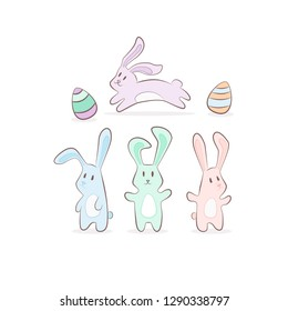 cute pastel cartoon bunny rabit animal with eggs