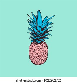 Cute pastel color vector illustration -  Pineapple on pink background