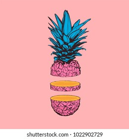 Cute pastel color vector illustration -  Sliced pineapple on pink background