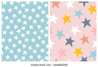 Cute Pastel ColorStar Seamless Vector Patterns. Irregular Hand Drawn Simple Starry Print. White Grunge Stars Isolated on a Light Blue Background. Pink, Blue,Yellow, Orange and White Stars on a Pink.