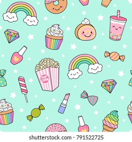 Cute pastel desserts seamless pattern with star background