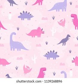 Cute pastel dinosaurs. Vector hand drawn cartoon seamless pattern