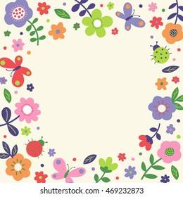 Butterfly border images stock photos vectors shutterstock cute pastel flower butterfly and ladybug border frame vector mightylinksfo