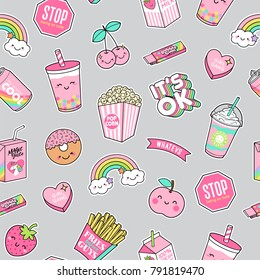 Cute pastel foods patches seamless pattern background
