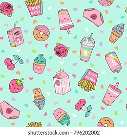 Cute pastel foods patches seamless pattern with heart background