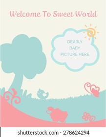 cute pastel gentle filed for new baby born welcome congratulation card