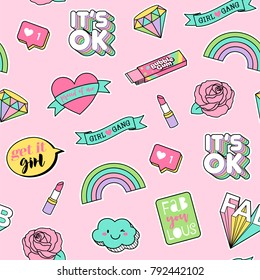 Cute pastel girls fashion patches seamless pattern on pink background