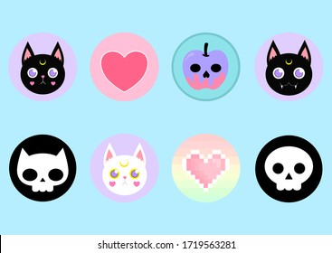 Cute pastel goth halloween icons included witchy cat skull heart and cat skull on pastel blue background