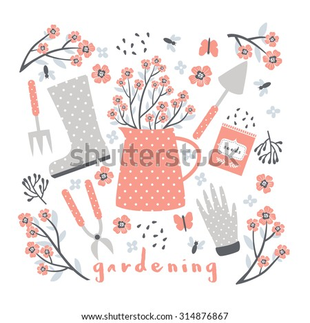 Cute Pastel Greeting Card With Garden Stuff On White Background. Flowers,  Instruments, Garden
