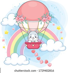 Cute pastel kitten on a pink hot air balloon in a rainbow world