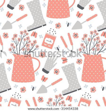 Cute Pastel Pattern With Garden Stuff On White Background. Flowers,  Instruments, Garden Gloves