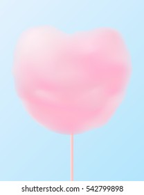 Cute pastel pink heart shaped cotton candy.