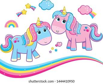 Cute Pastel Rainbow Sparkle Unicorns