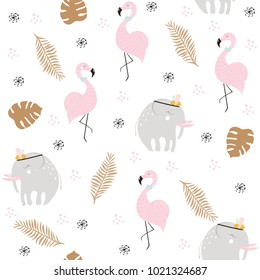 Cute pastel seamless pattern with African animals and gold tropical leaves. Vector hand drawn illustration.