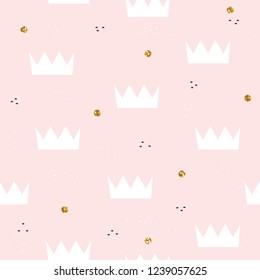 Cute pastel seamless pattern with crown and gold glitter dots. Kids print. Vector hand drawn illustration.