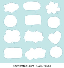 CUTE PASTEL SPEECH BUBBLE SET FOR TEXT, QUESTION, STICKER, THINKING, IDEA IN MODERN STYLE. GRAPHIC ILLUSTRATION VECTOR CAN USE FOR  ICON OR BACKGROUND