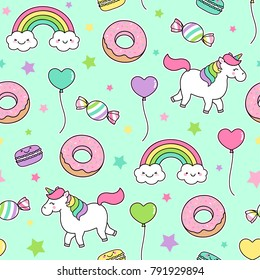 Cute pastel unicorn, dessert and balloon seamless pattern with star background