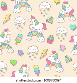 Cute pastel unicorn and doodle elements seamless pattern background