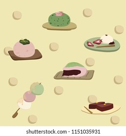 cute pastel wagashi Japanese traditional dessert mochi dango red beans paste and others fluffy sweet for zen tea time or for matcha ceremonial