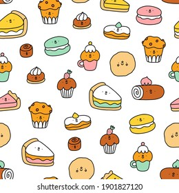 Cute pastry characters, cartoon macarons, cupcakes and cookies, vector seamless pattern