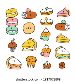 Cute pastry characters, cartoon macarons, cupcakes and cookies, vector illustration collection