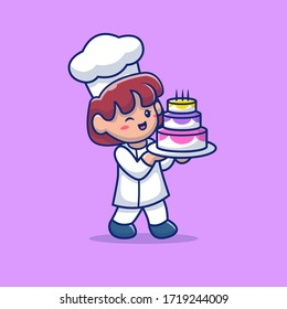 Cute Pastry Chef With Birthday Cake Vector Icon Illustration. Profession Icon Isolated Concept Premium Vector . Flat Cartoon Style Suitable for Web Landing Page, Banner, Flyer, Sticker, Card
