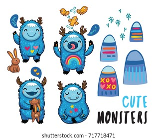 Cute patches with cartoon monsters, mountains, rabbits and birds. Awesome childish stickers. Vector illustration