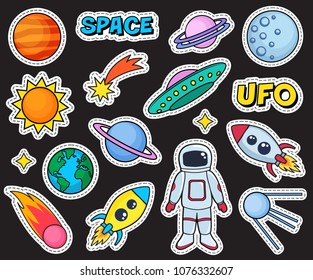 Cute patches set with space cosmonaut planets sun earth rockets spaceships moon ufo comet satellite and stars on black background. Fashion stickers, cartoon 80s-90s style. Vector illustration