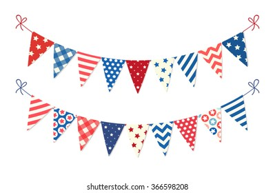 Cute patriotic bunting in traditional colors for Presidents Day, Independence Day, Veterans Day, Memorial Day