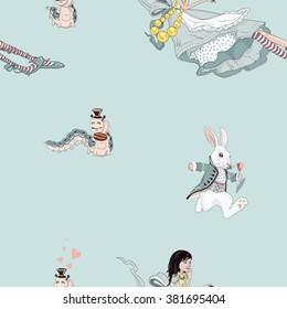 cute pattern Alice in Wonderland