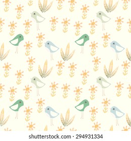 Cute pattern with birds and flowers