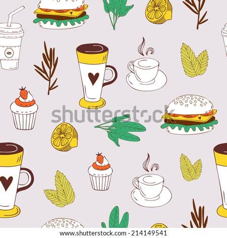 Cute Pattern Cartoon Food Fast Food Stock Vector Royalty Free